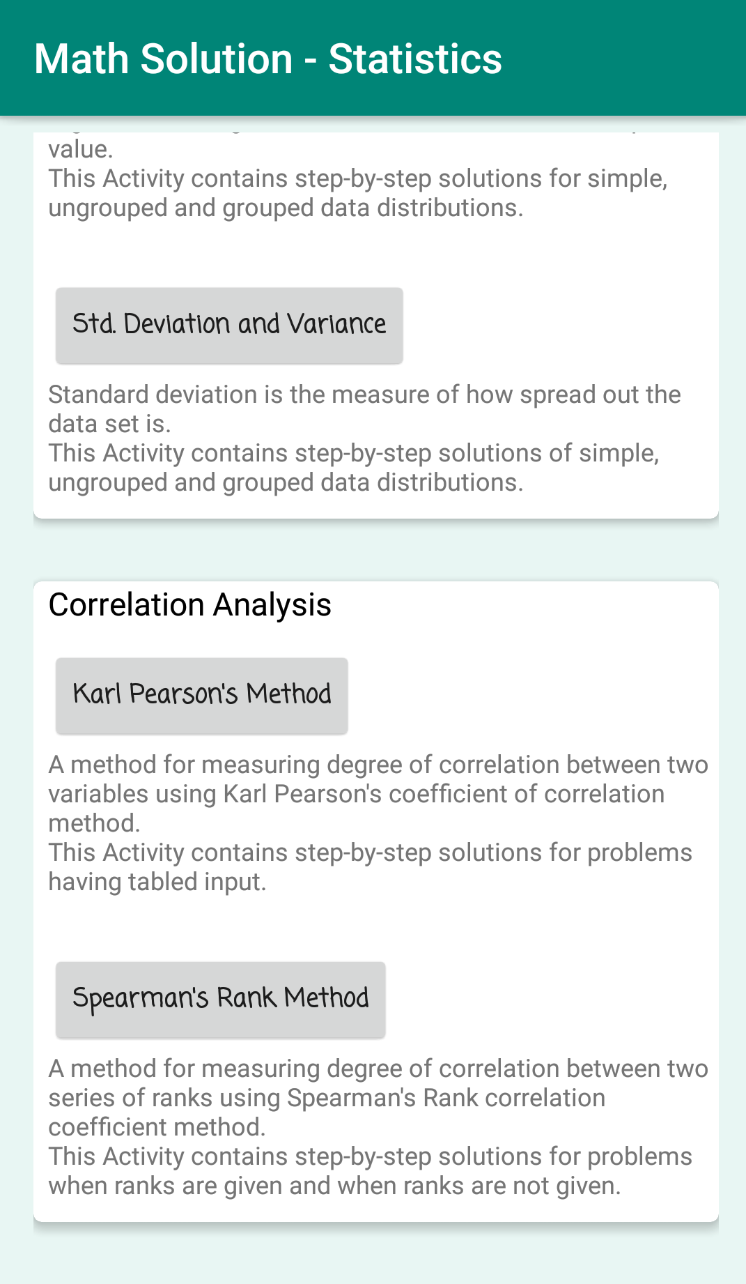 Math Solution – Statistics