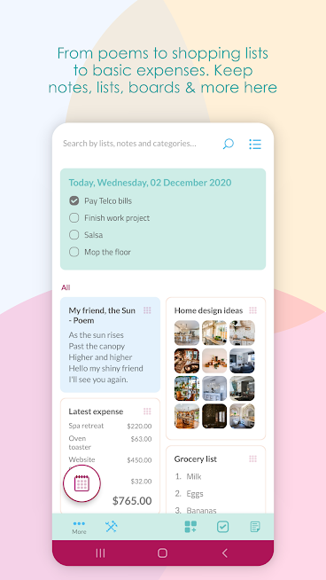Wondr Note – Notes, lists, mood boards & accounts
